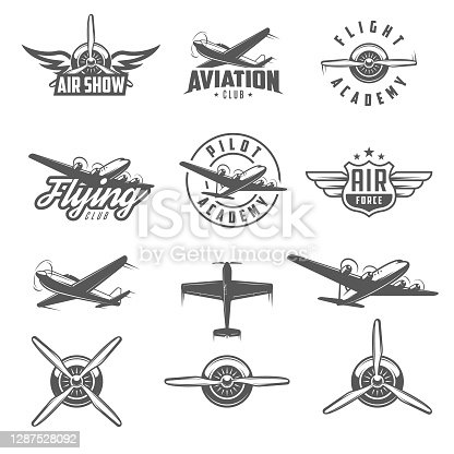 Set of airplane show labels and elements. Flying club. Air show.