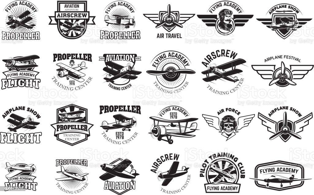 Set of airplane training center emblems. Design elements for label, emblem, sign. Vector illustration. vector art illustration