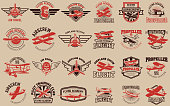 Set of airplane training center emblems. Design elements for label, emblem, sign. Vector illustration.