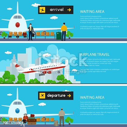 Set of Airport Banners, Airplane on the Background of the City, Waiting Room with Travelers and Luggage Bags and Scoreboard Departures and Arrivals, Air Travel Concept, Vector Illustration