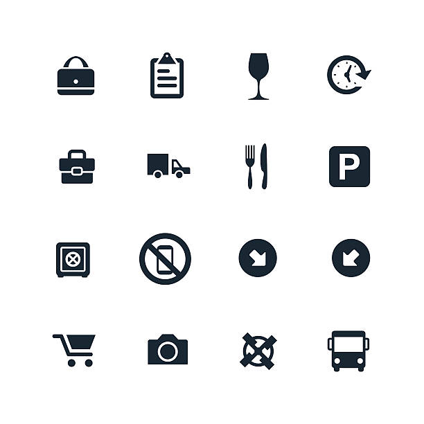 set of airport icons set of airport icons on white background security equipment stock illustrations