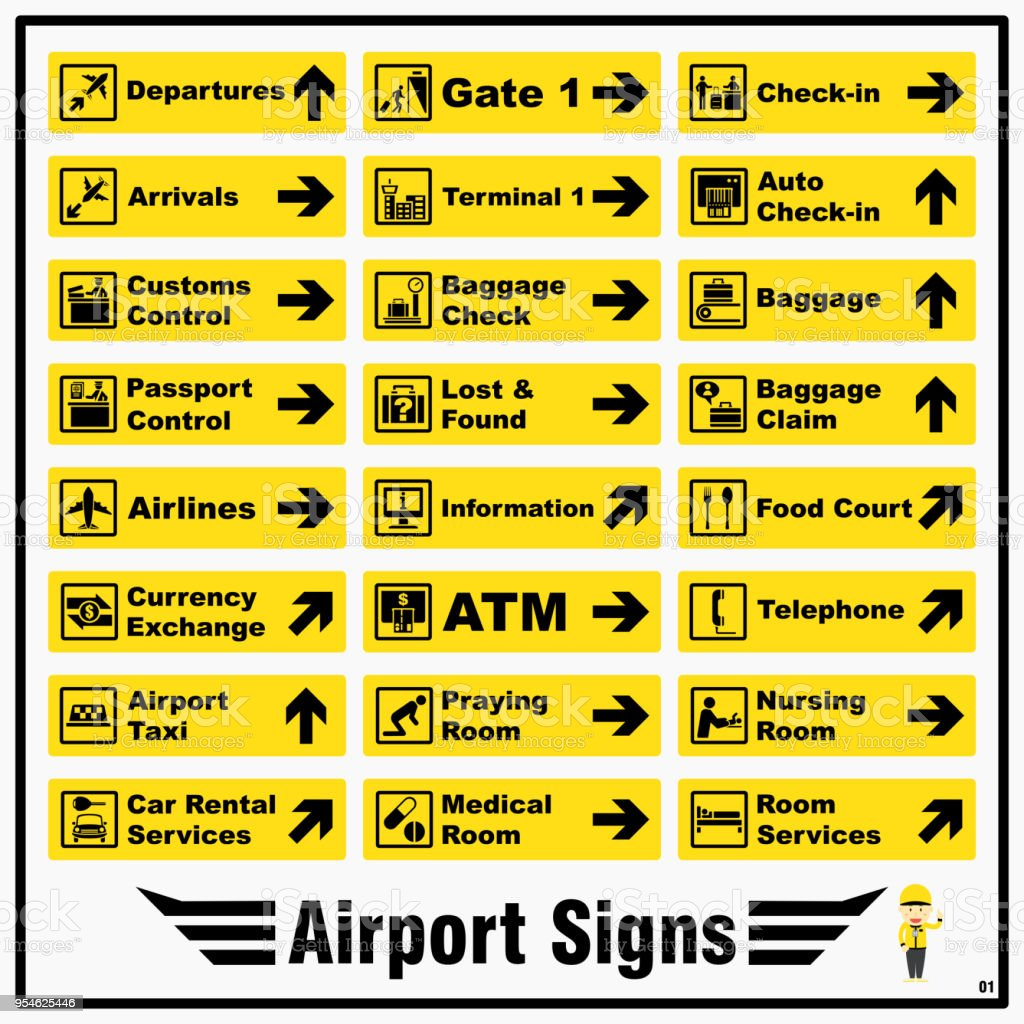 Set of airport markings and signs for standards using to identify direction of various locations and purposes around an airport. vector art illustration