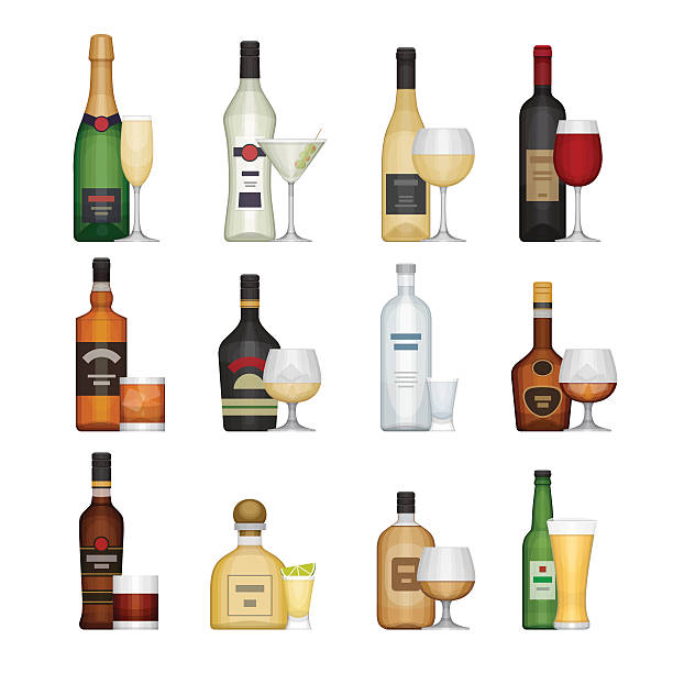ilustraciones, imágenes clip art, dibujos animados e iconos de stock de set of alcohol bottle with glasses. - alcohol