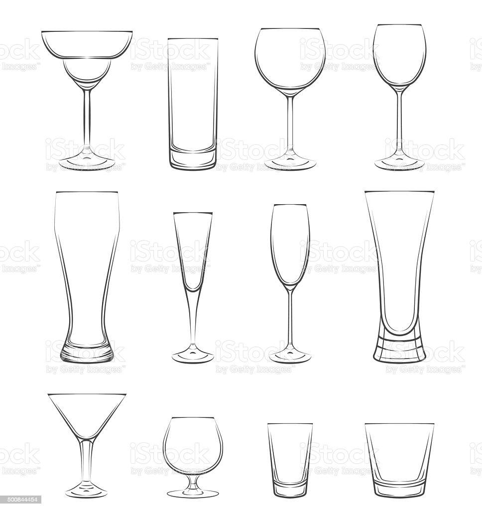 Set of alcohol glasses. Vector Illustration vector art illustration