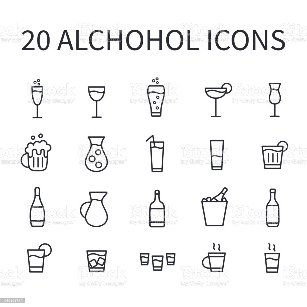Set Of Alcohol Icons For Web Or Mobile App Vector Bar Icons