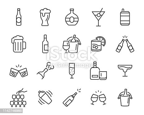 set of alcohol icons, such as wine, champagne, beer, whisky, cocktail