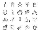 ワイン、シャンパン、ビール、ウイスキー、カクテルなどのアルコールのアイコンのセット