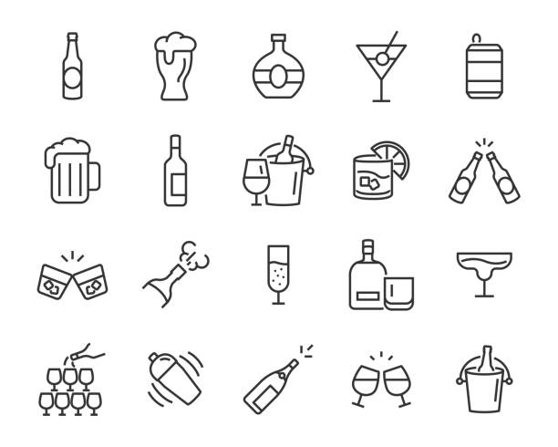 set of alcohol icons, such as wine, champagne, beer, whisky, cocktail set of alcohol icons, such as wine, champagne, beer, whisky, cocktail bottle stock illustrations