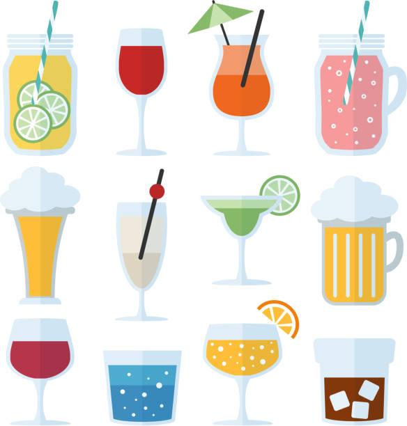 набор алкогольных напитков, вина, пива и коктейлей. изолированные значки вектора, плоский дизайн - напиток stock illustrations