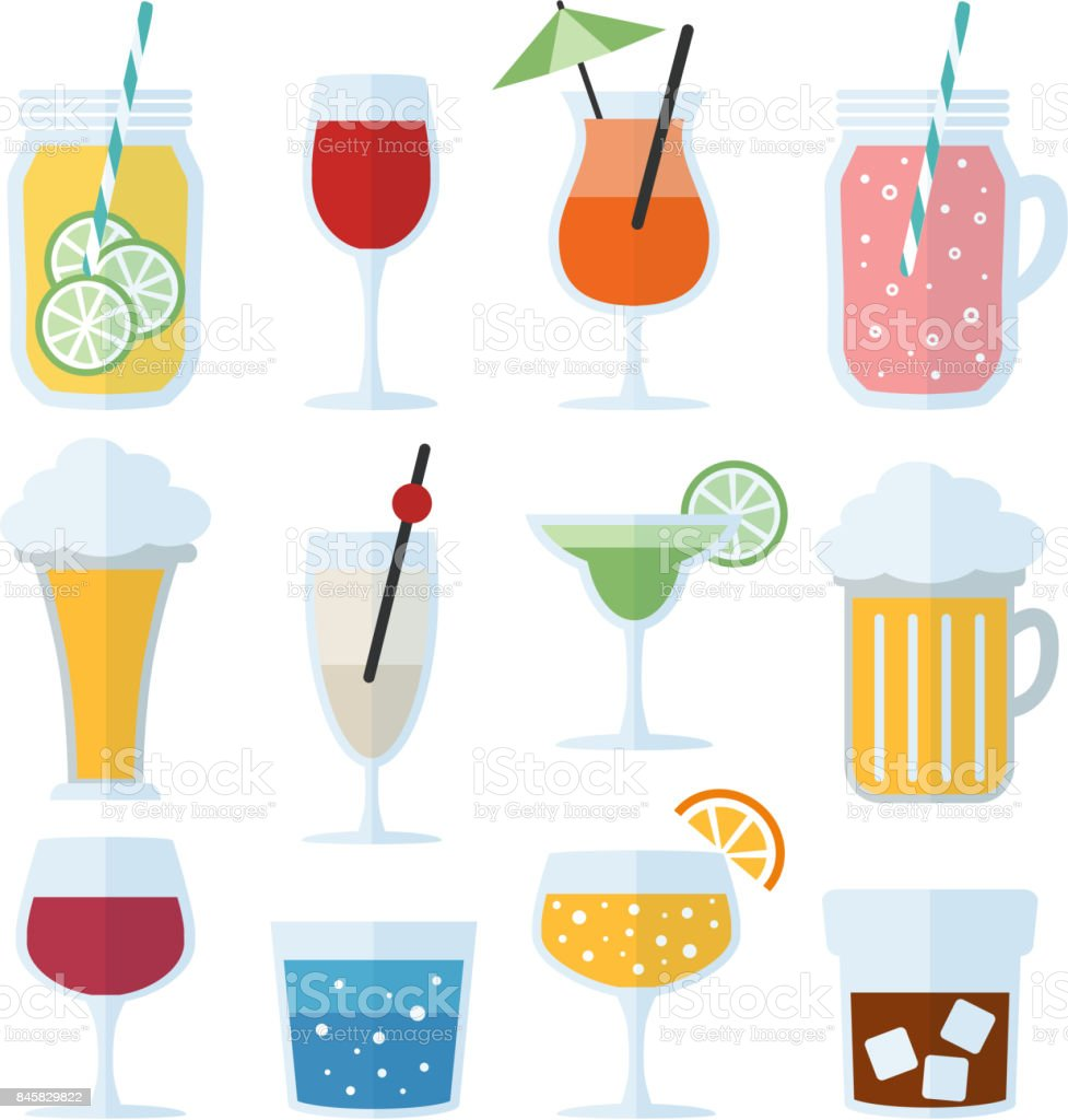 Set of alcoholic drinks, wine, beer and cocktails. Isolated vector icons, flat design vector art illustration