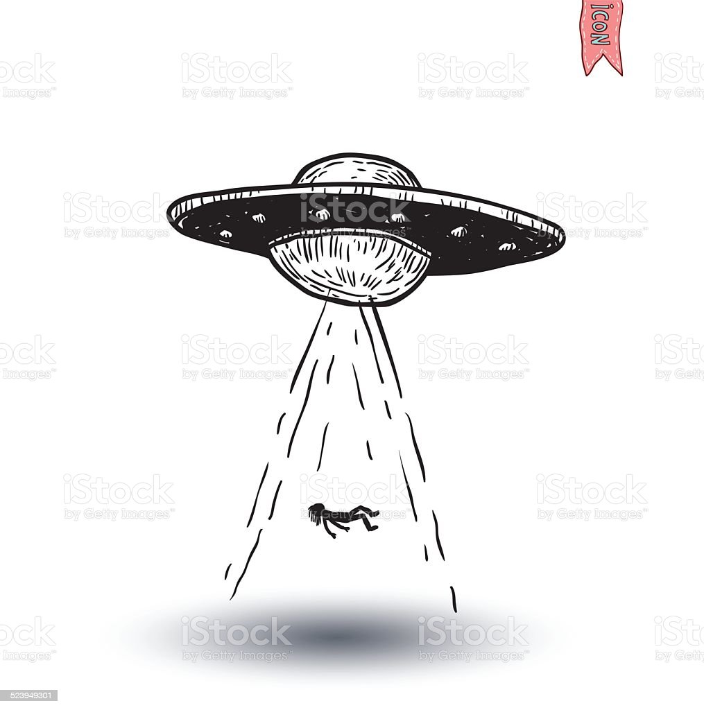 Set Of Alien And Ufo Icon Hand Drawn Vector Illustration
