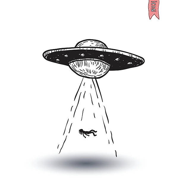 set of alien and ufo icon, hand drawn vector illustration. - autopsy stock illustrations, clip art, cartoons, & icons