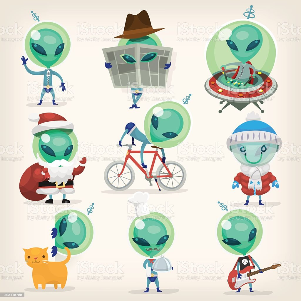 Set of aliens vector art illustration