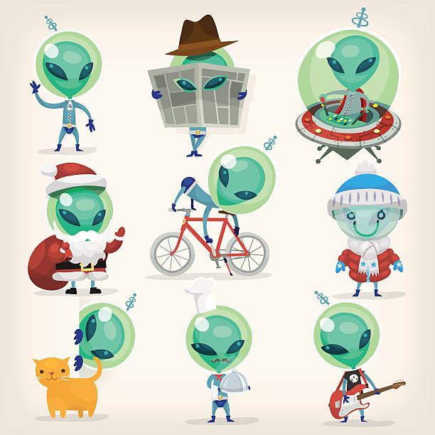 Set of aliens vector art illustration