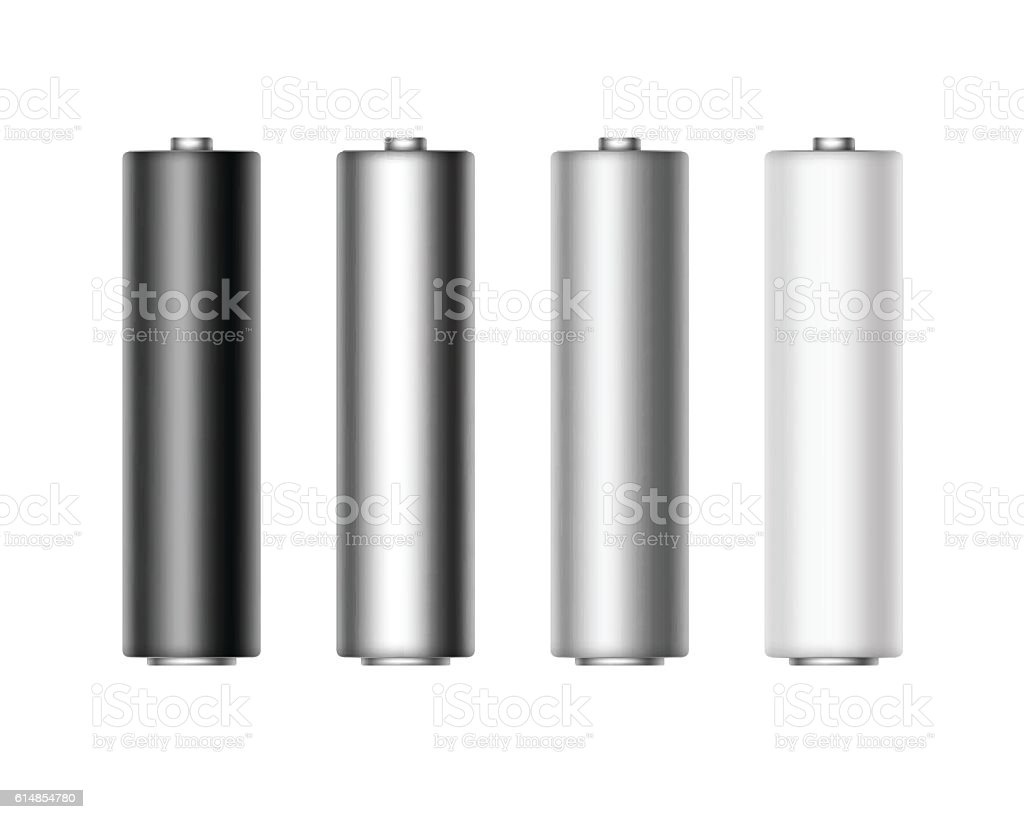 Set of Alkaline AA Batteries for branding Isolated vector art illustration