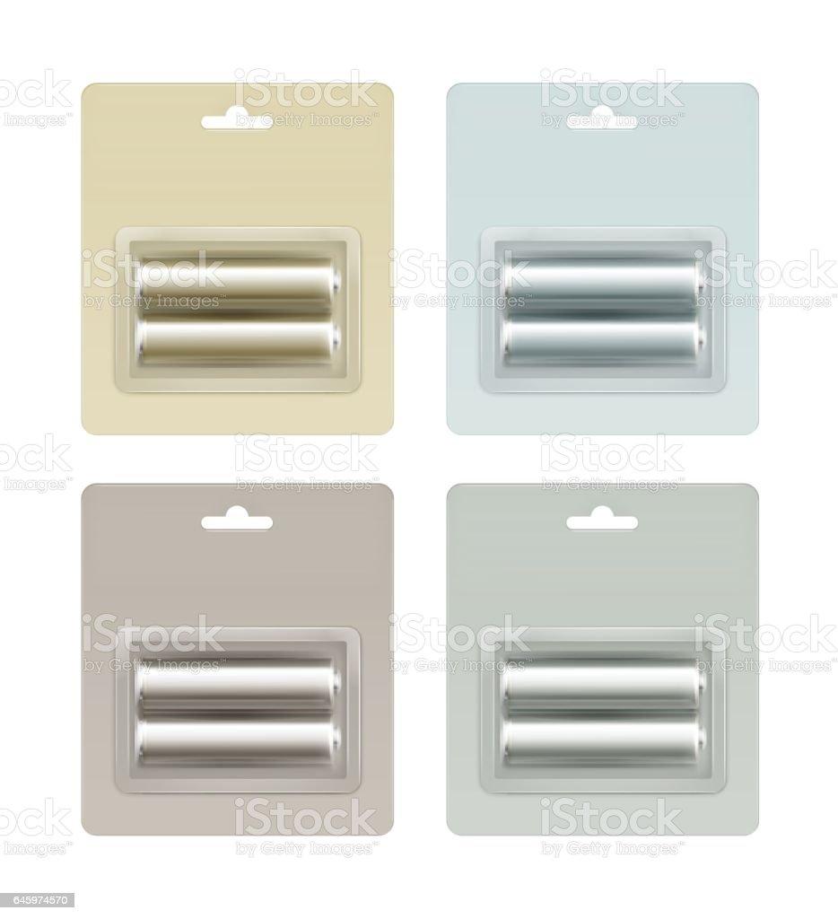Set of Alkaline Batteries in Packed on Background vector art illustration