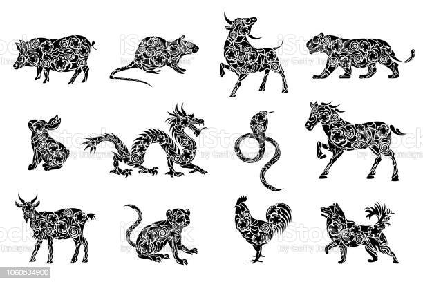 Set of all 12 zodiac animals for chinese new year celebration design vector id1060534900?b=1&k=6&m=1060534900&s=612x612&h=ew85nptk4a3bfjeazz3gaw07f0gtq2owtkbv5sx9v8w=