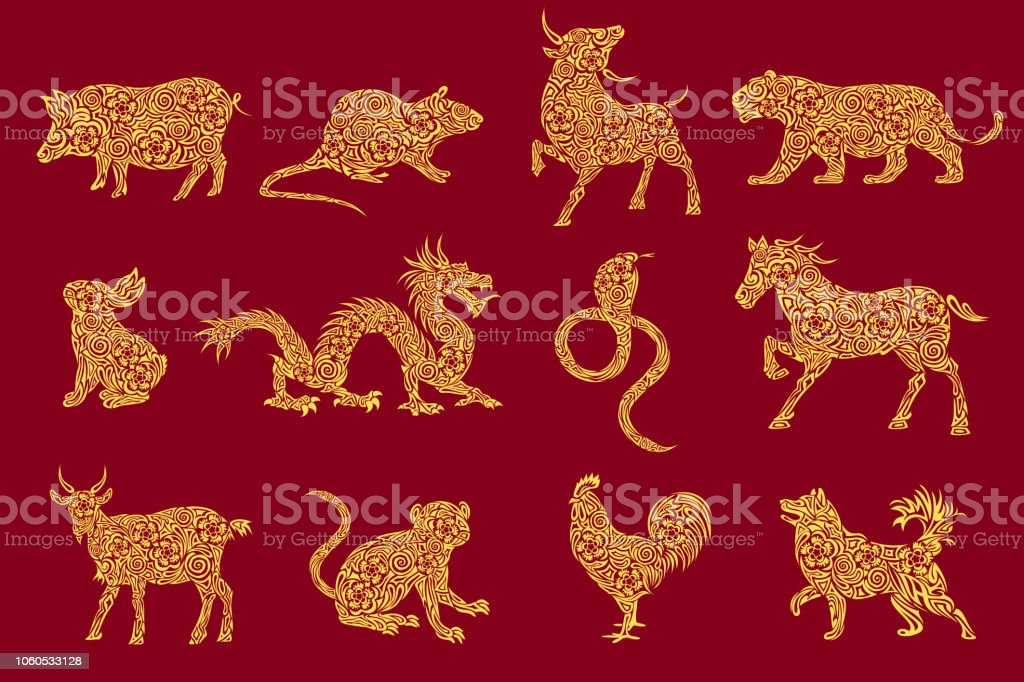Set Of All 12 Zodiac Animals For Chinese New Year Design ...