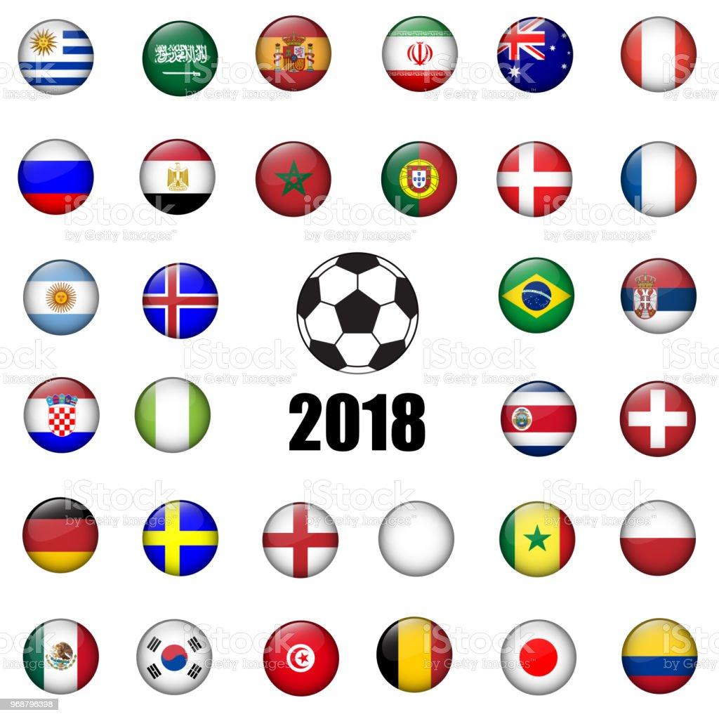 Conjunto de vector 3D de la insignia del fútbol de toda nación equipo diseñado ilustración. Torneo de fútbol de 2018. - ilustración de arte vectorial