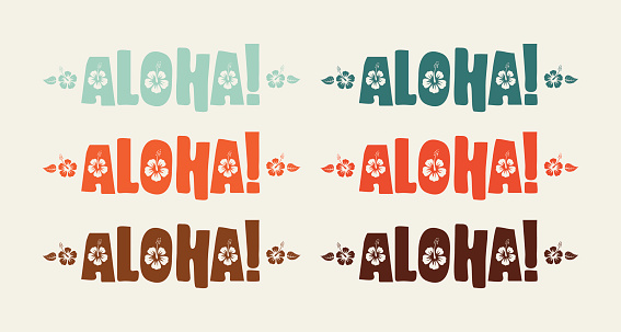 Set of aloha word in retro colors