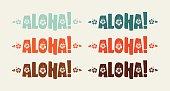 istock Set of aloha word in retro colors 464938086