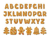Set of alphabet holidays gingerbread cookies. Christmas abc letters font. Vector Illustration..