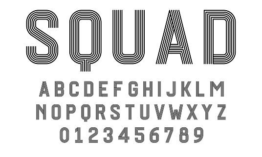 Set of alphabets font modern design with lines