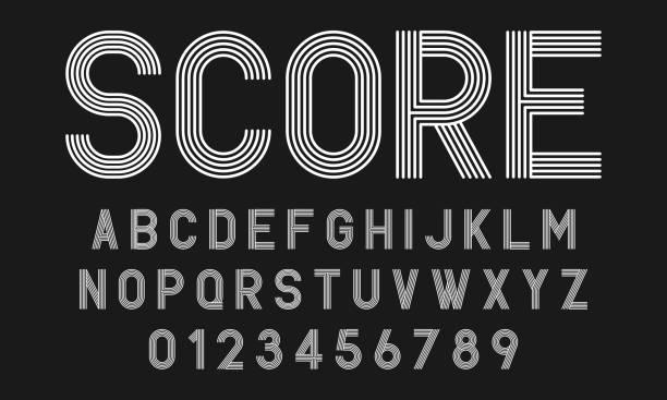 Set of alphabets fonts modern abstract design with lines Set of alphabets fonts letters and numbers modern abstract design with lines vector illustration alphabet patterns stock illustrations