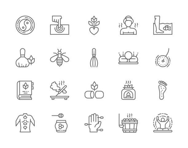 stockillustraties, clipart, cartoons en iconen met set van alternatieve geneeskunde lijn iconen. badhuis, thaise massage, bee venom therapie, acupunctuur, aromatherapie, meditatie, yoga en meer. - sauna
