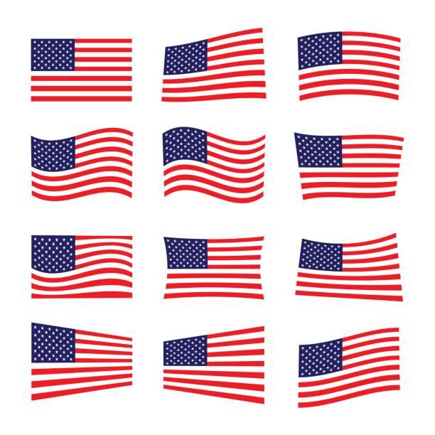 set of america flag, vector illustration. vector art illustration