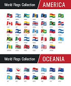 Set of American and Oceanian flags - Vector illustrations