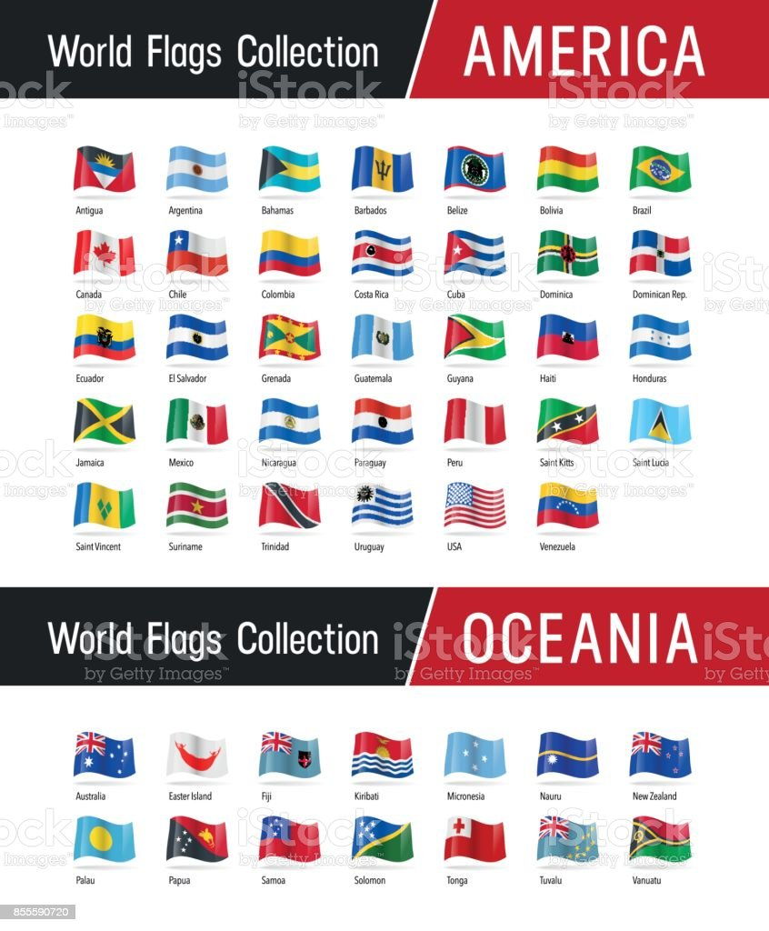 Set of American and Oceanian flags - Vector illustrations vector art illustration