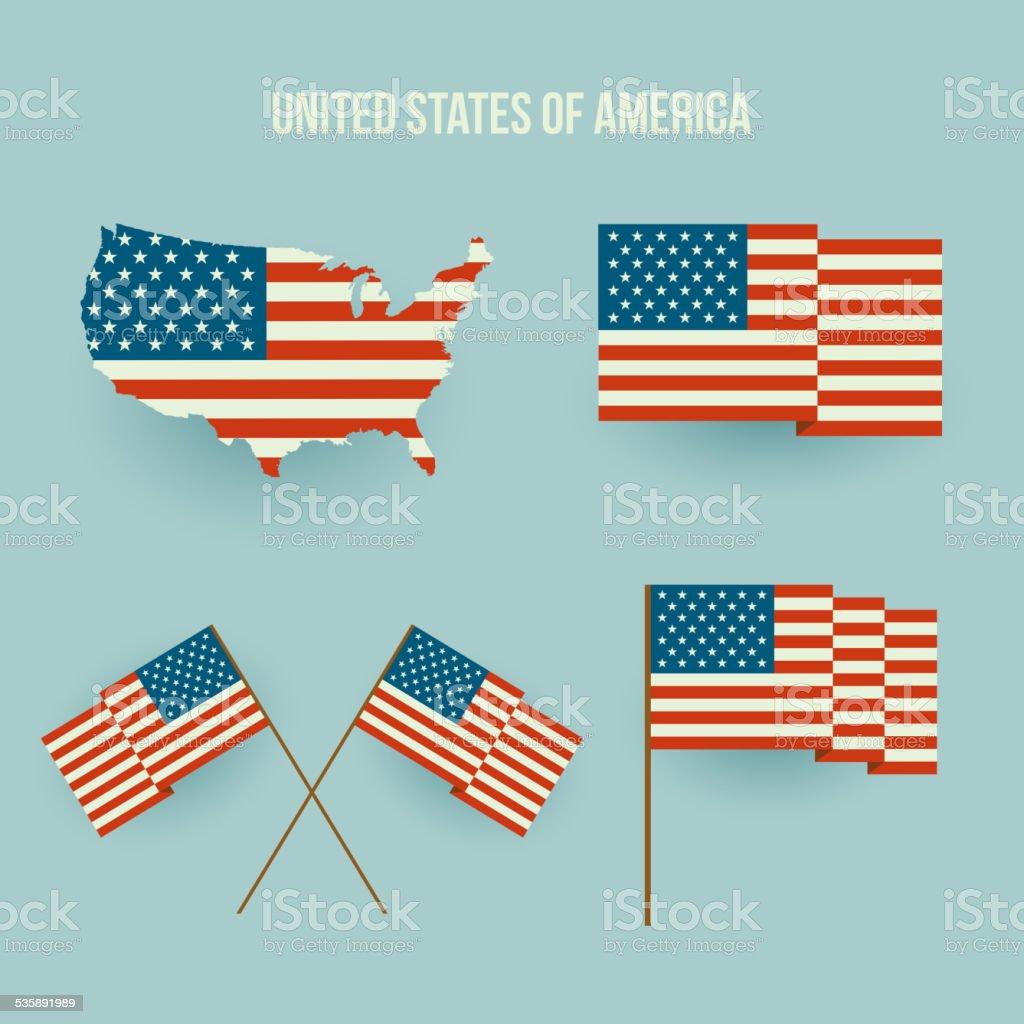 Set of american flag and map. Flat design vector art illustration