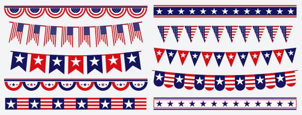 set of american flag decoration clip art. set of american flag decoration clip art. easy to modify circa 4th century stock illustrations