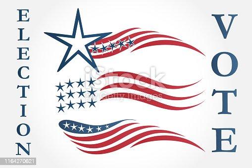 Election Day USA flags icon set logo design of American USA Flag icon vector image Illustration