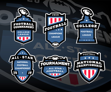 Set of American football, emblems, labels on a dark background.