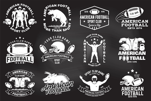 Set of american football or rugby club badge. Vector for shirt, print, stamp, patch. Vintage design with bull, american football sportsman player, helmet, ball and shoulder pads silhouette