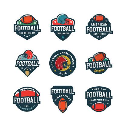 set of american football s. sport emblems, badges. vector illustration