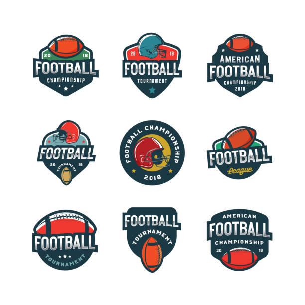 stockillustraties, clipart, cartoons en iconen met set van american football s. sport emblemen, badges. vector illustratie - kampioenschap