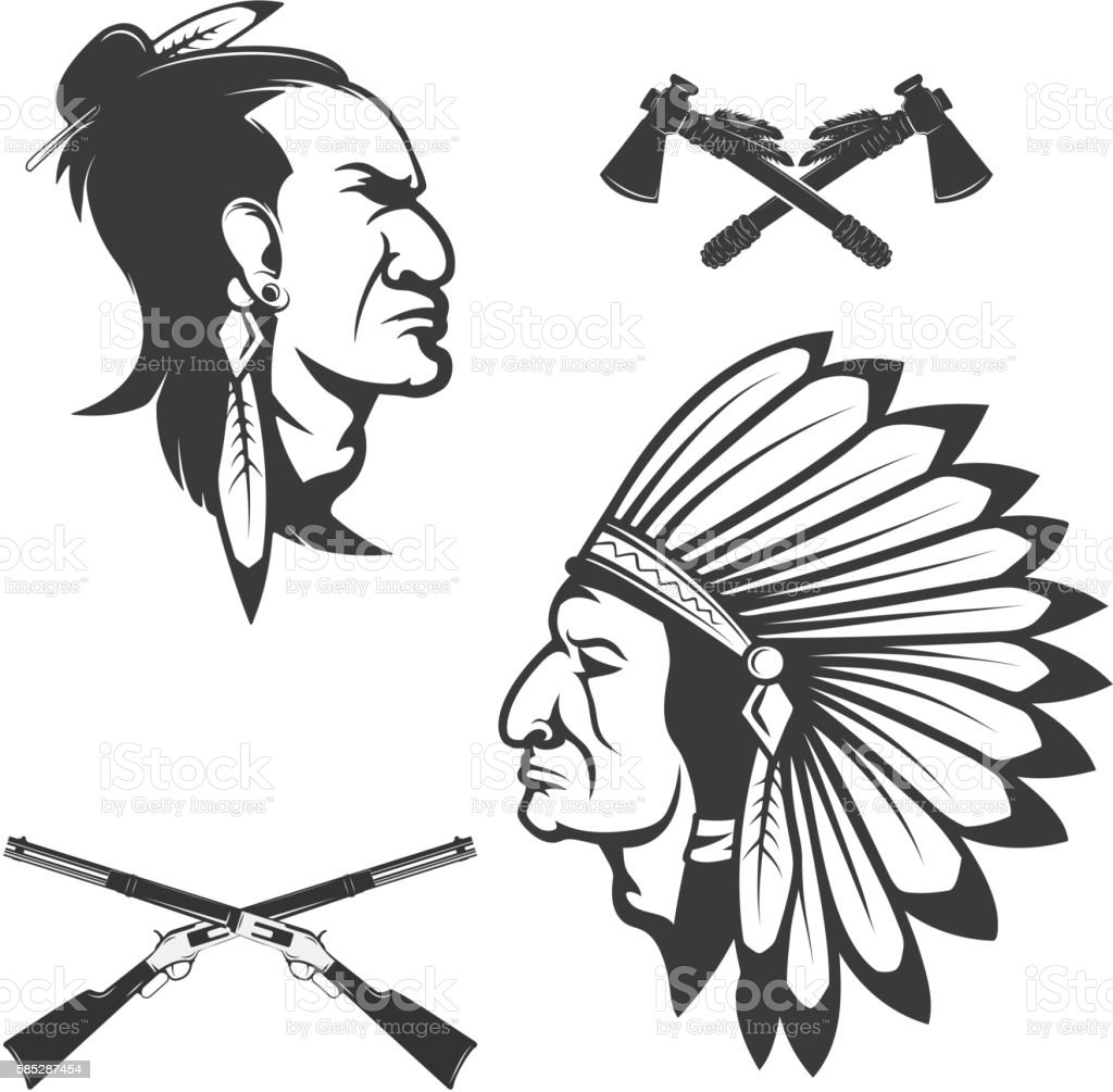 Set of american native chief heads. American indians headdress vector art illustration