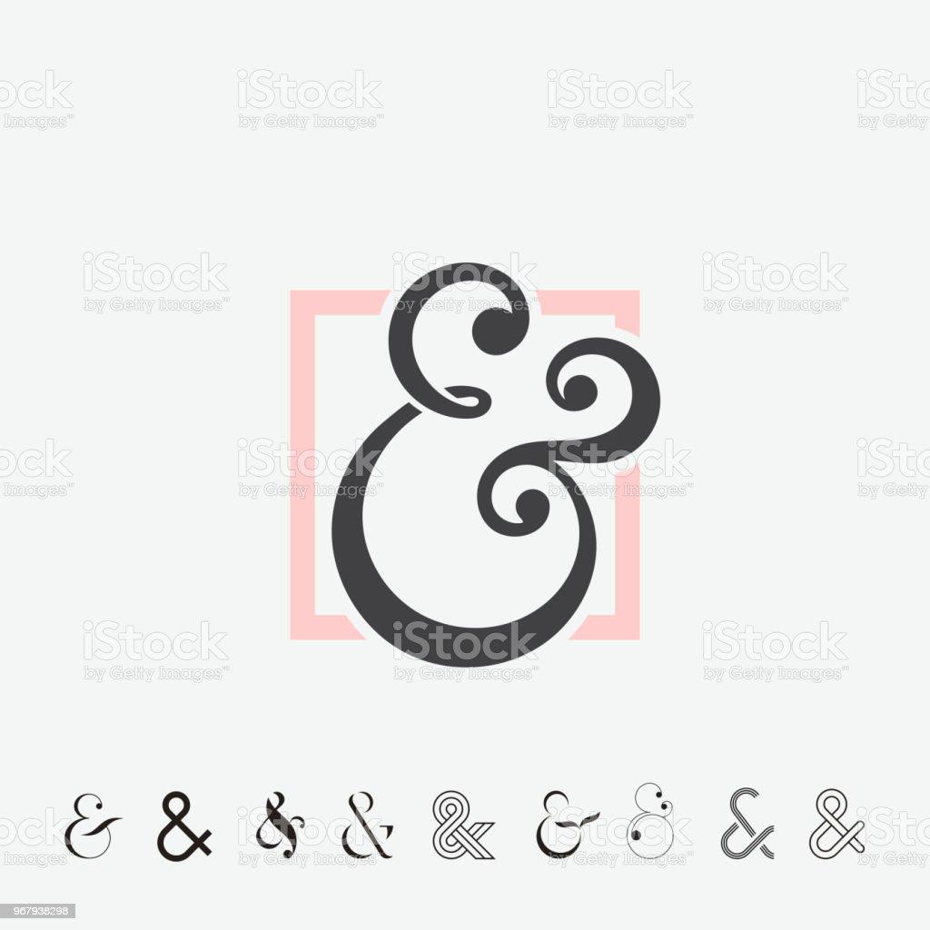 Set of Ampersands vector art illustration