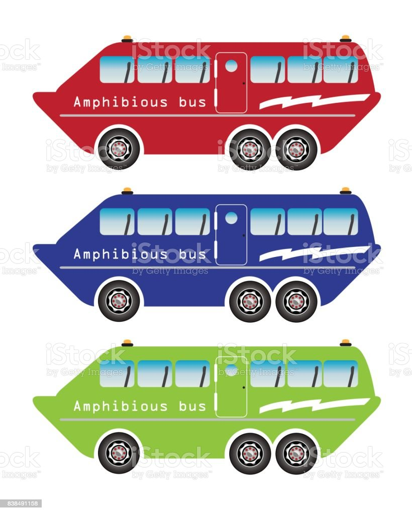 Set of amphibian bus or land and water touring vector art illustration