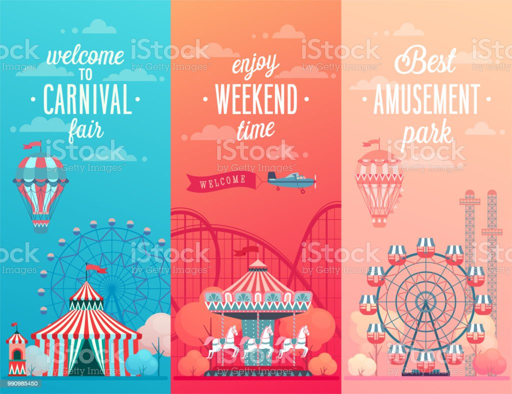 Set of Amusement park landscape banners with carousels,