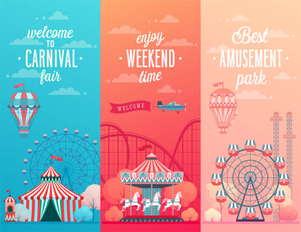 set of amusement park landscape banners with carousels, - roller coaster stock illustrations