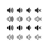 Set of an icon that increases and reduces the sound. Icon showing the mute. Sound icons with different signal levels in a flat design. Vector illustration. Isolated on white background.