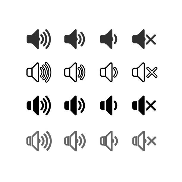bildbanksillustrationer, clip art samt tecknat material och ikoner med uppsättning av en ikon som ökar och minskar ljudet. ikon som visar mute. ljud ikoner med olika signalnivåer i en platt design. vektorillustration. isolerade på vit bakgrund. - blåsinstrument