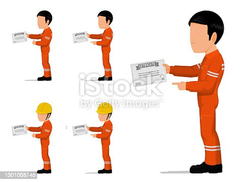 set of an industrial worker is holding certificate