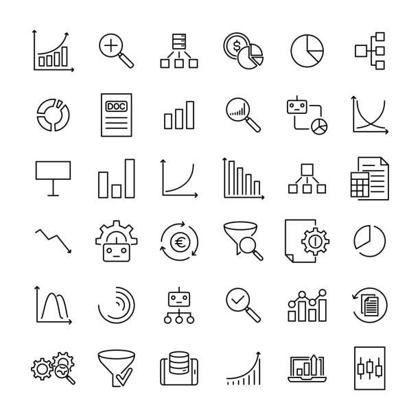 ilustrações, clipart, desenhos animados e ícones de conjunto de ícones de linha fina de análise. - fazer dinheiro