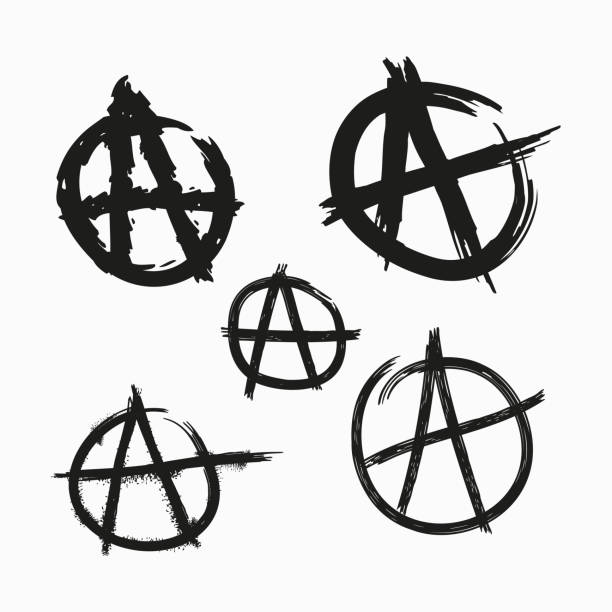 Set of Anarchy symbols. Painted with rough grunge brushes. Vector illustration. Set of Anarchy symbols. Painted with rough grunge brushes. Isolated vector illustration. mess stock illustrations
