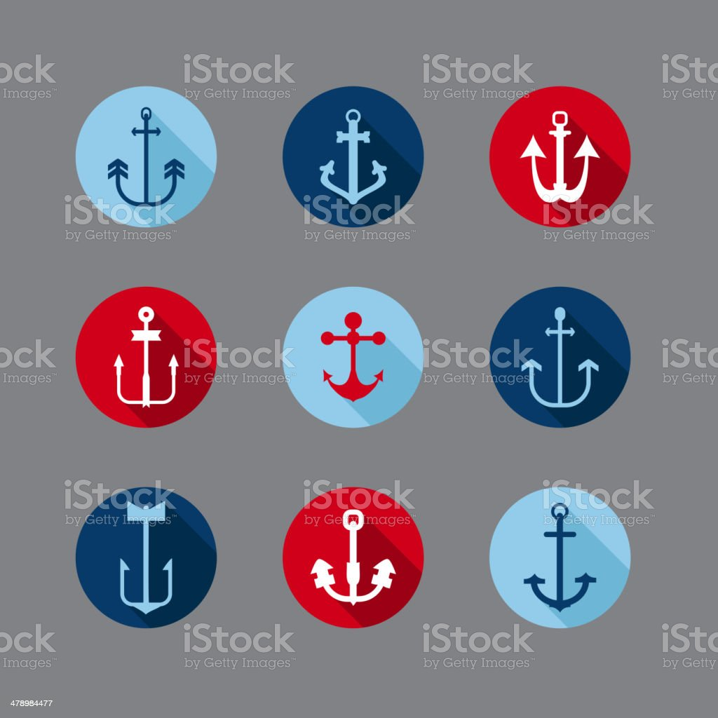 Set of Anchor Nautical Icons vector art illustration